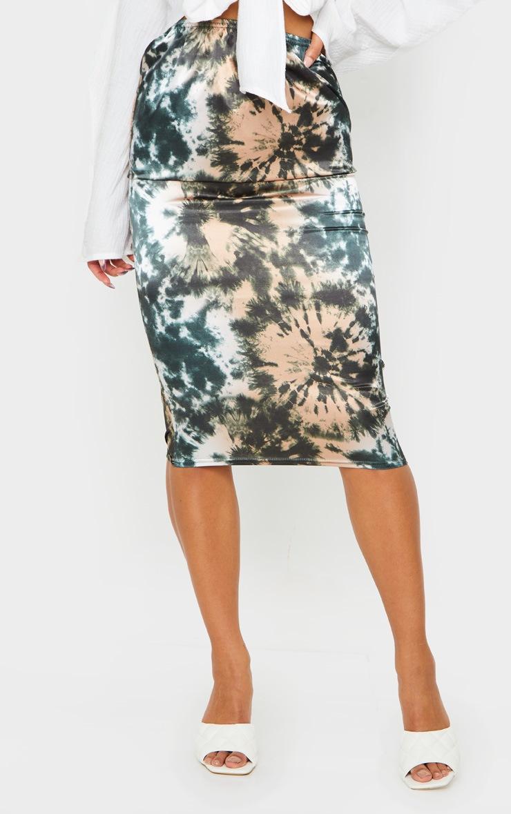 Green Satin Tie Dye Midi Skirt 2