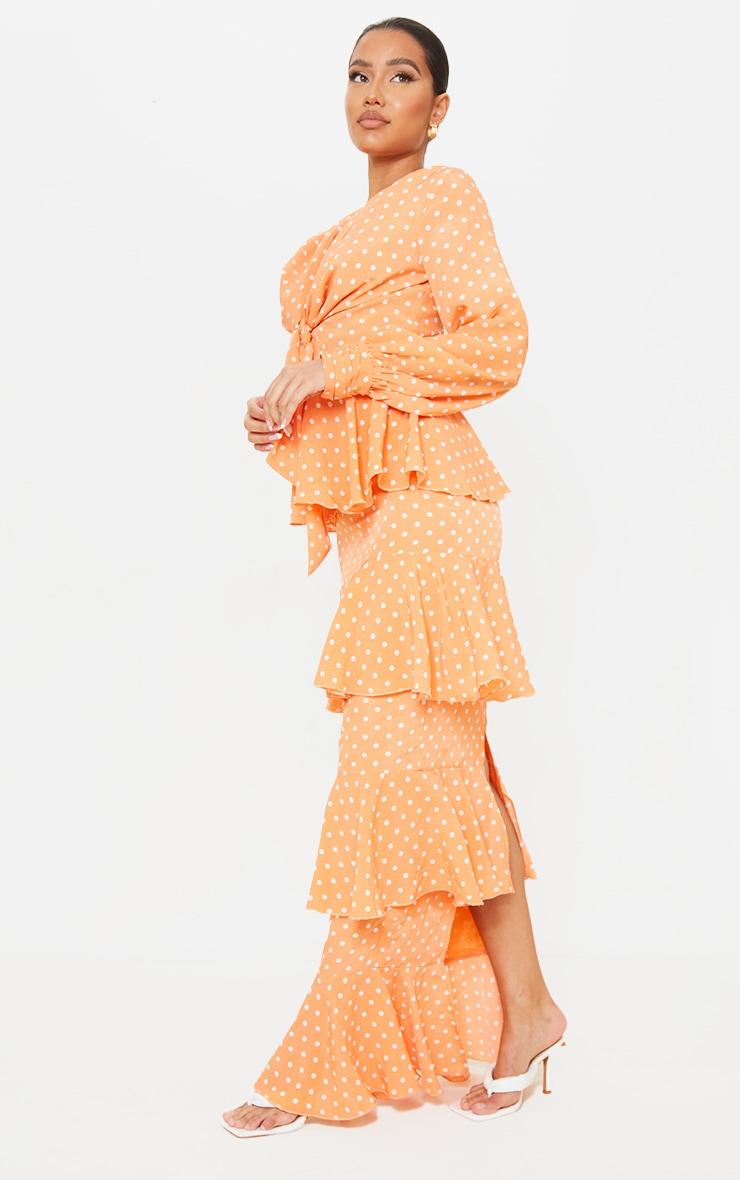 Peach Polka Dot Tiered Frill Long Sleeve Maxi Dress 3