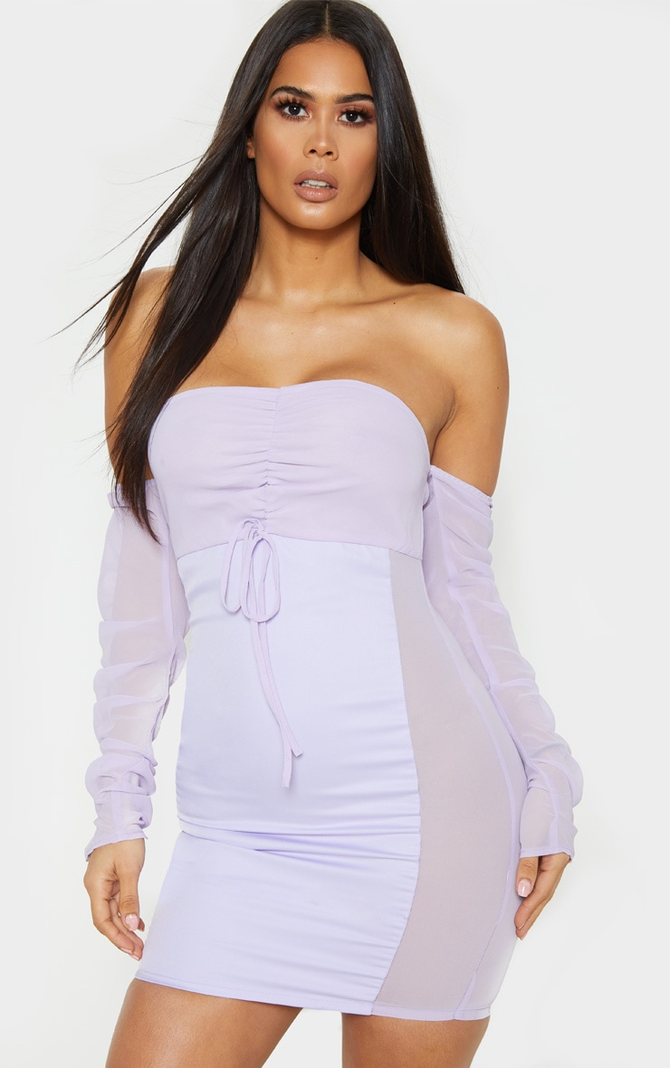 Lilac Mesh Ruched Bodycon Dress 4