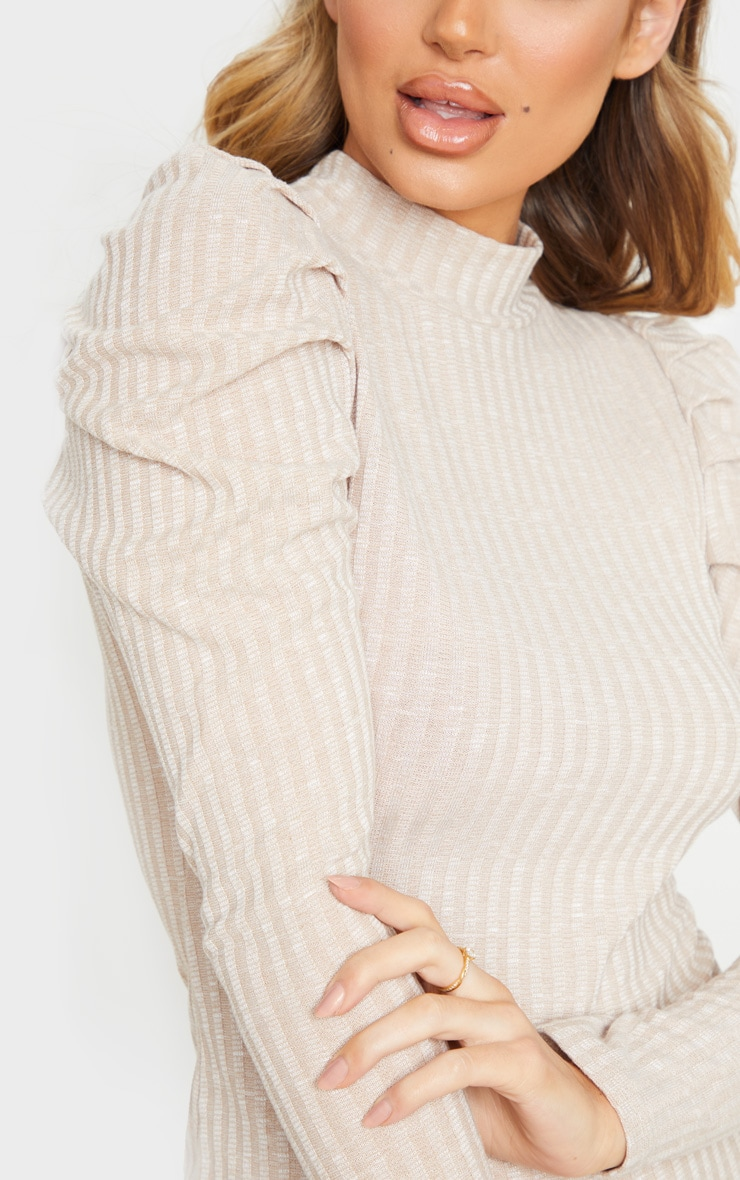 Oatmeal Puff Shoulder Funnel Neck Rib Knitted Dress 4