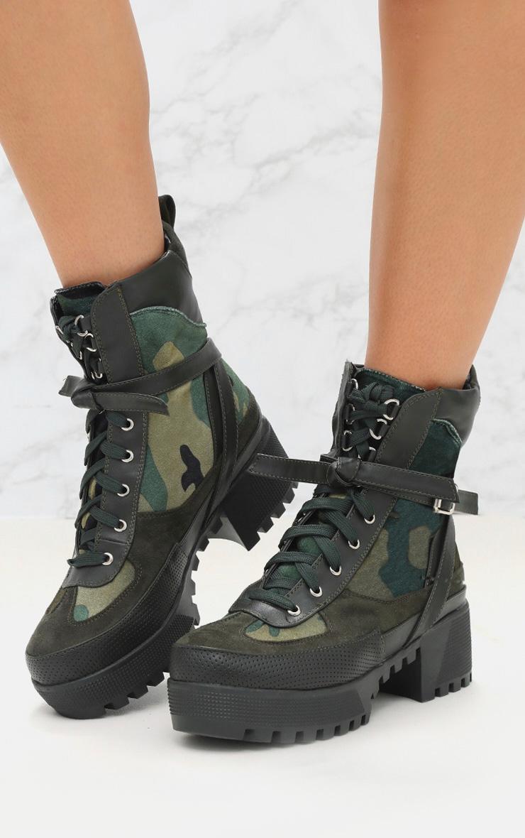 Khaki Camouflage Biker Boots 2