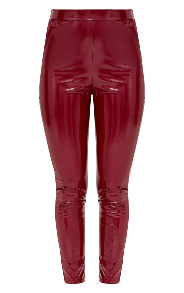 Burgundy Vinyl Leggings 3