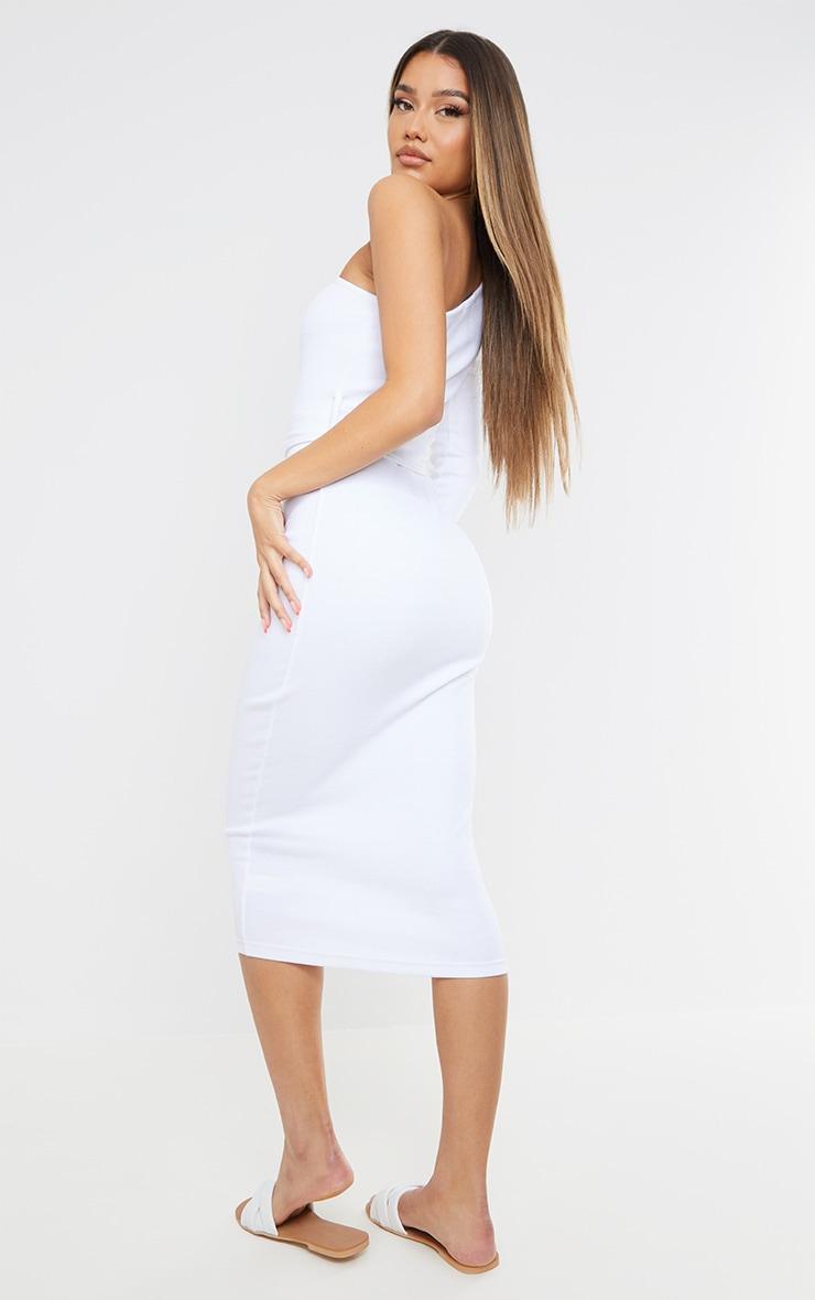 White Thick Rib One Shoulder Tie Waist Midi Dress 2