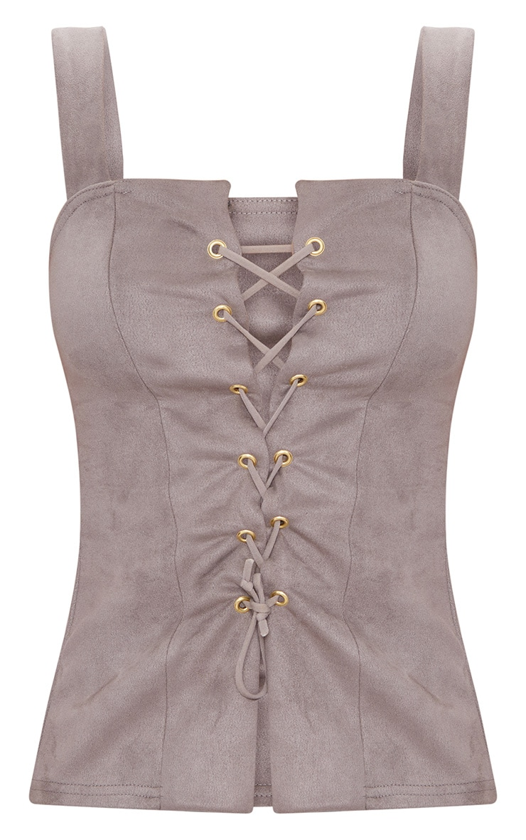 Mushroom Faux Suede Lace Up Top  3