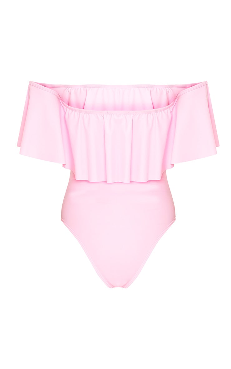 Mia Pink Bardot Frill Swimsuit  4