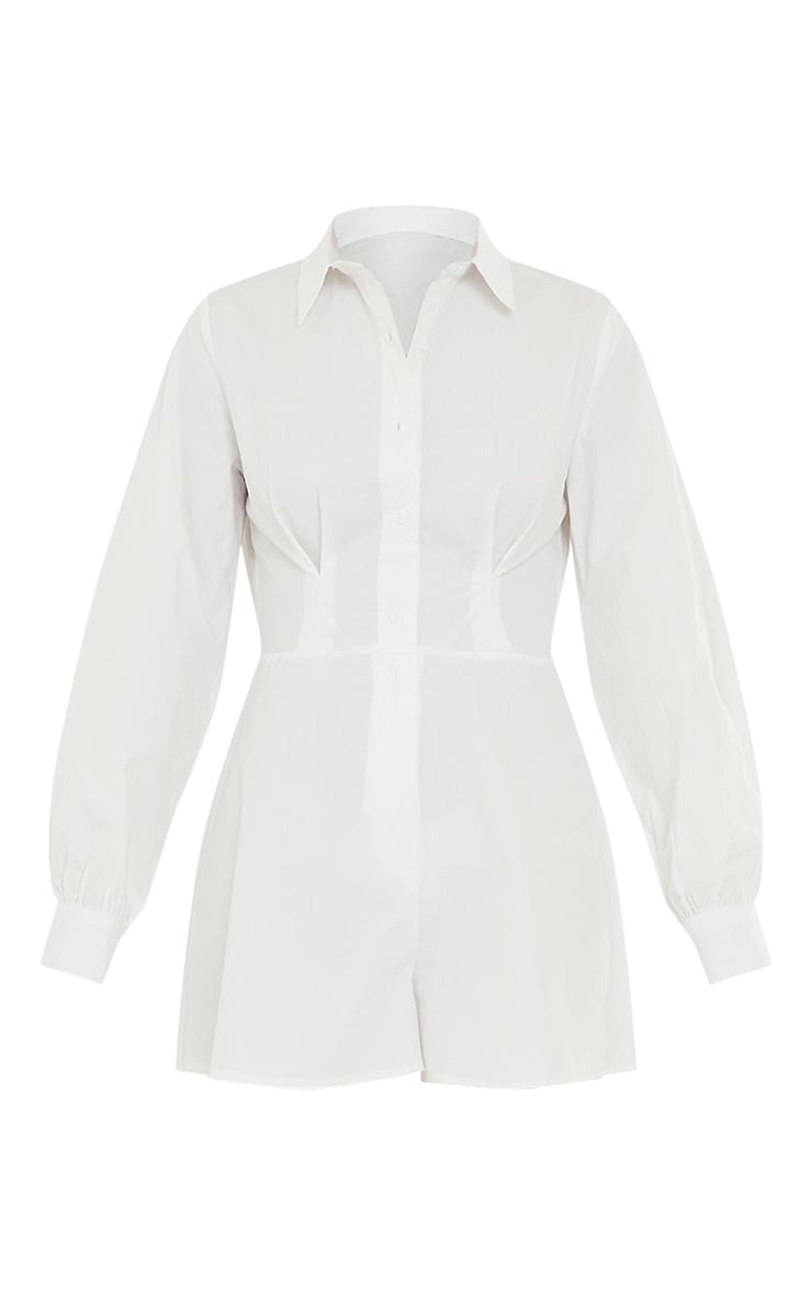 White Cotton Poplin Flared Short Shirt Romper 5