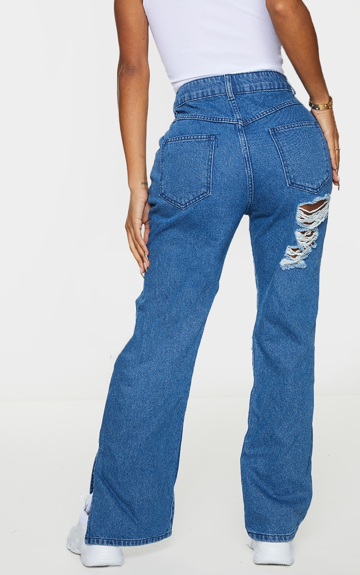Shape Mid Blue Wash Extreme Distressed Split Hem Jeans 3