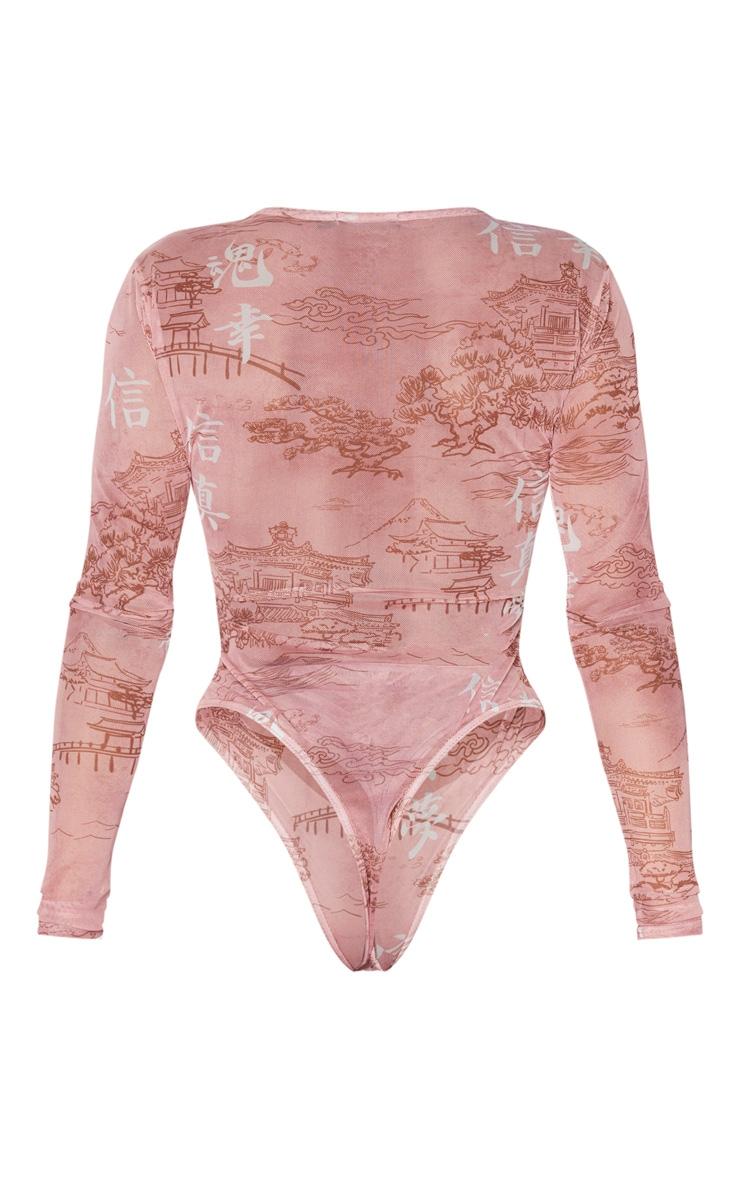 Shape Rose Printed Mesh Long Sleeved Bodysuit 4