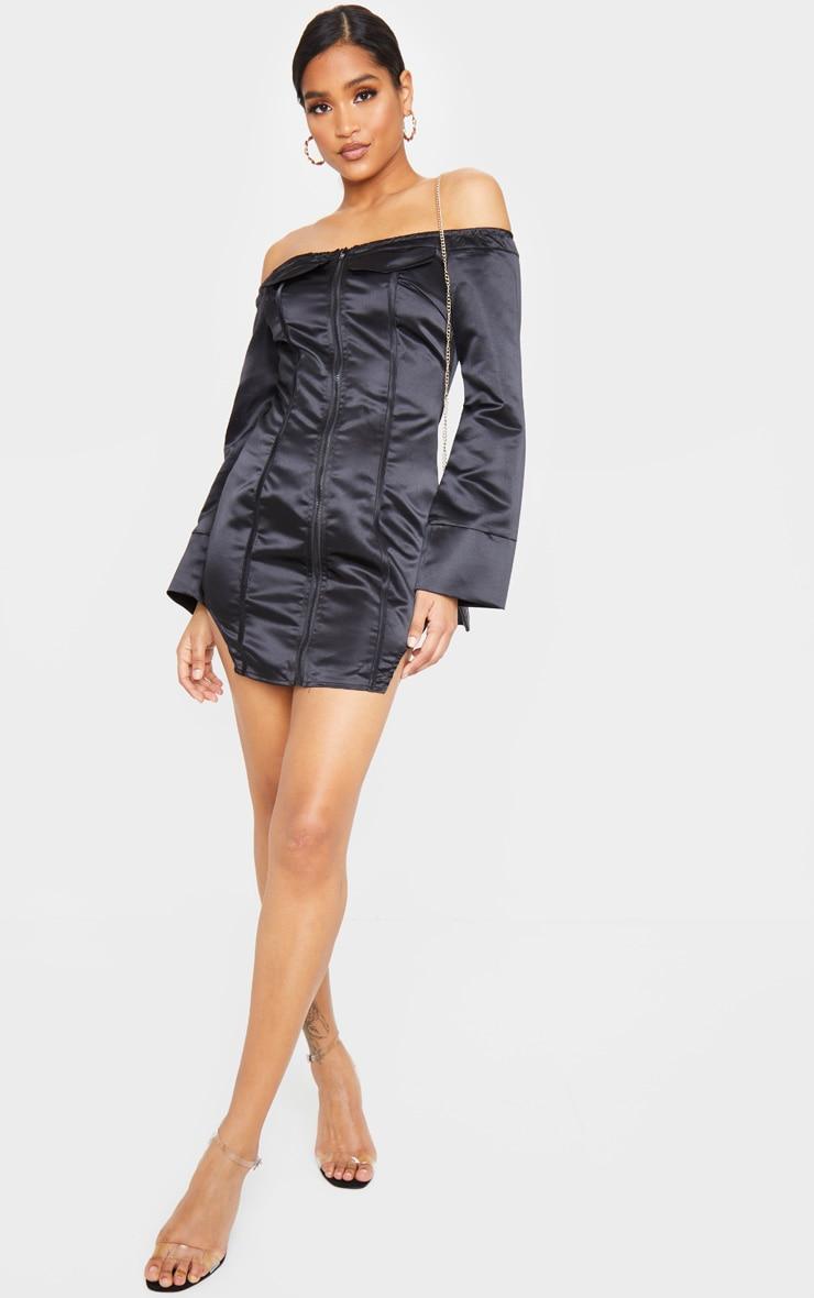 Black Woven Binding Detail Zip Front Bardot Bodycon Dress 3