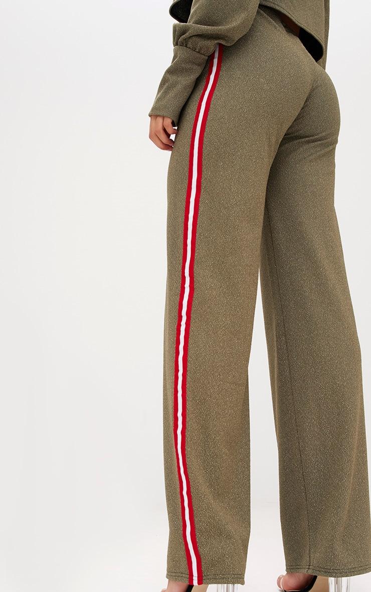 Khaki Lurex Sport Stripe Wideleg Trousers 5