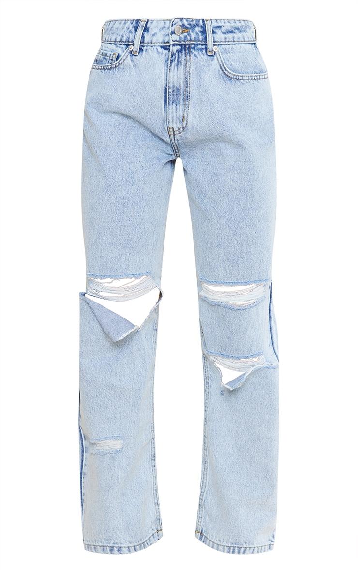 Acid Blue Baggy Low Rise Ripped Boyfriend Jeans 5