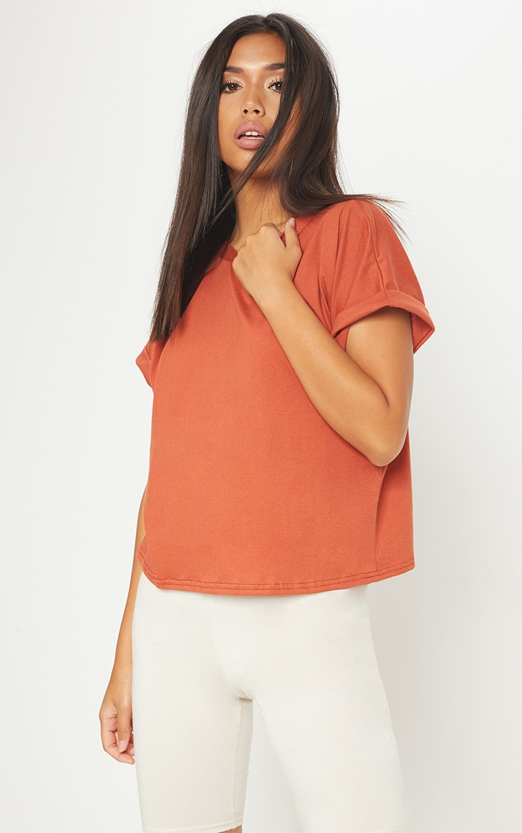 Basic Burnt Orange Low Arm T Shirt