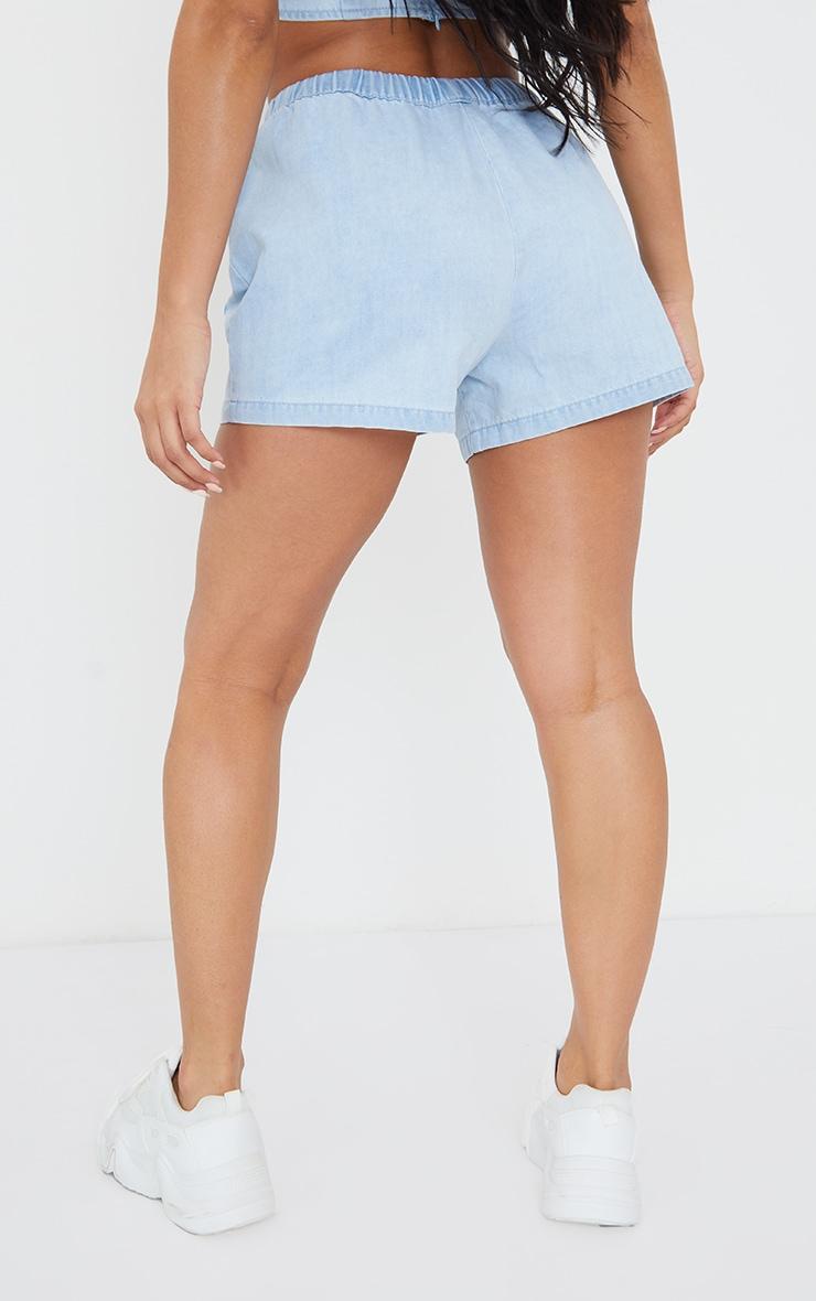 Light Blue Wash Pocket Front Elasticated Waist Denim Shorts 3