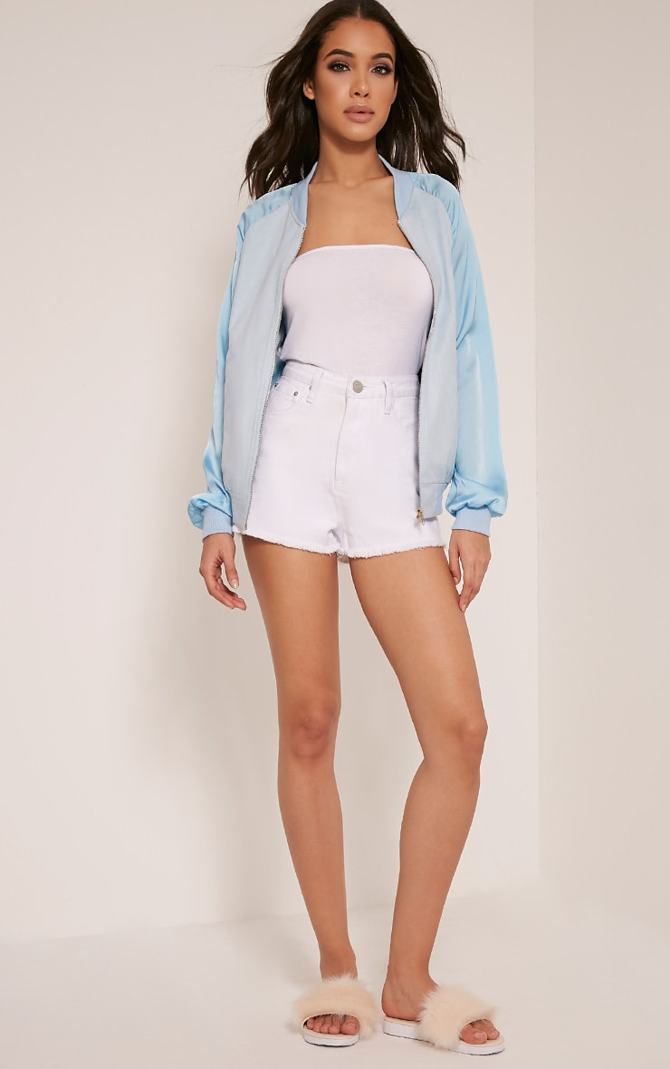 a59045ec6 Ivy Baby Blue Faux Suede Contrast Sleeve Bomber Jacket ...