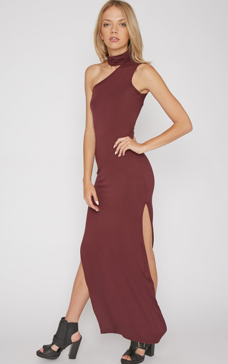Jennifer Burgundy Thigh Split Maxi Dress 3