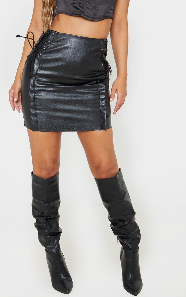 Petite Black Lace Up Side PU Mini Skirt 2