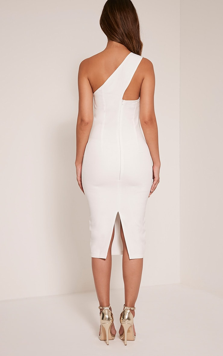 Jayla White Lace Up One Shoulder Midi Dress 2
