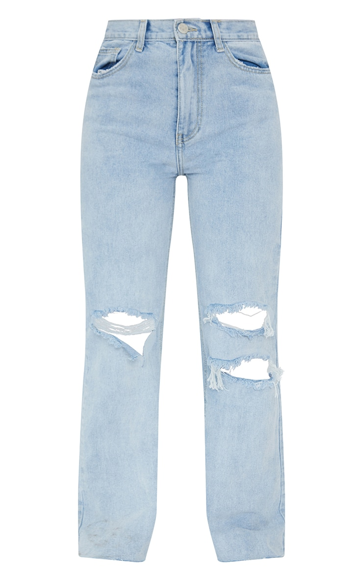 Vintage Wash Distressed Raw Hem Wide Leg Jeans 5