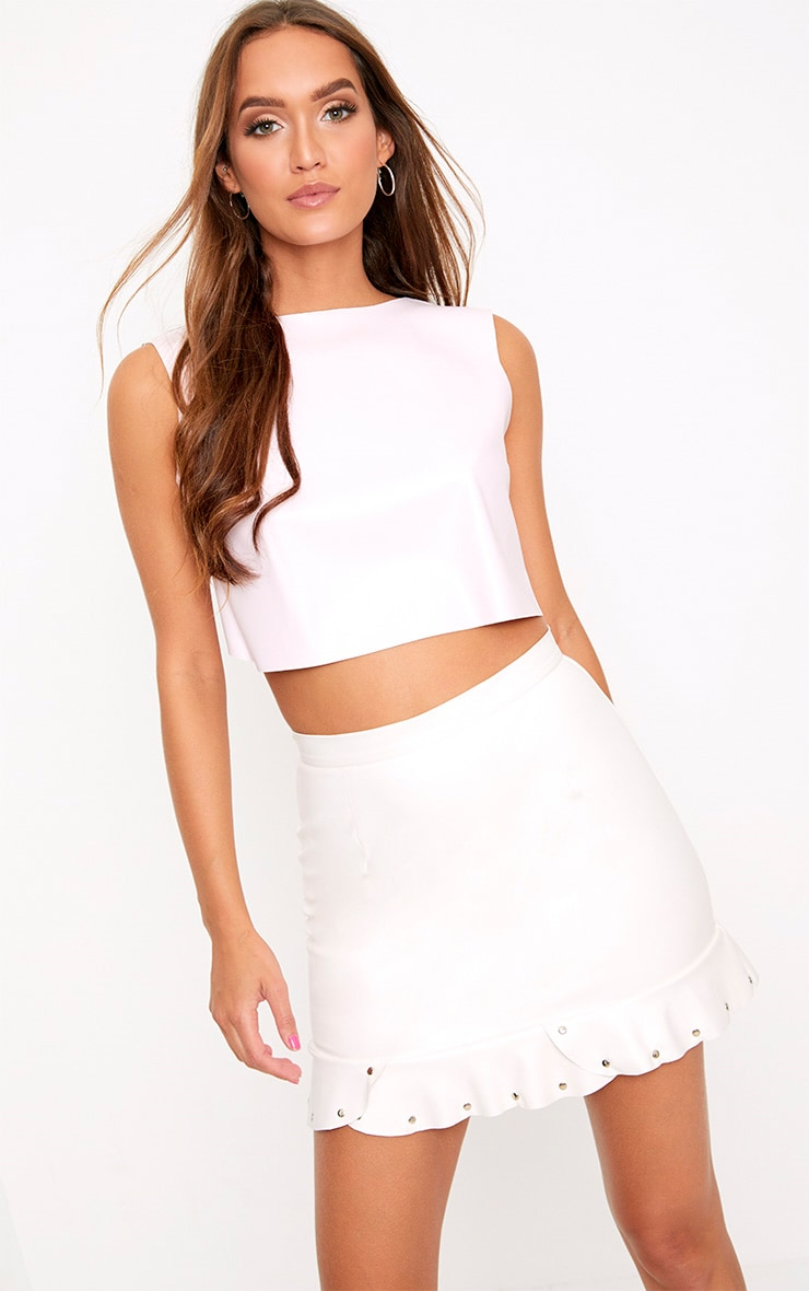 Baby Pink PU Bow Back Top 2