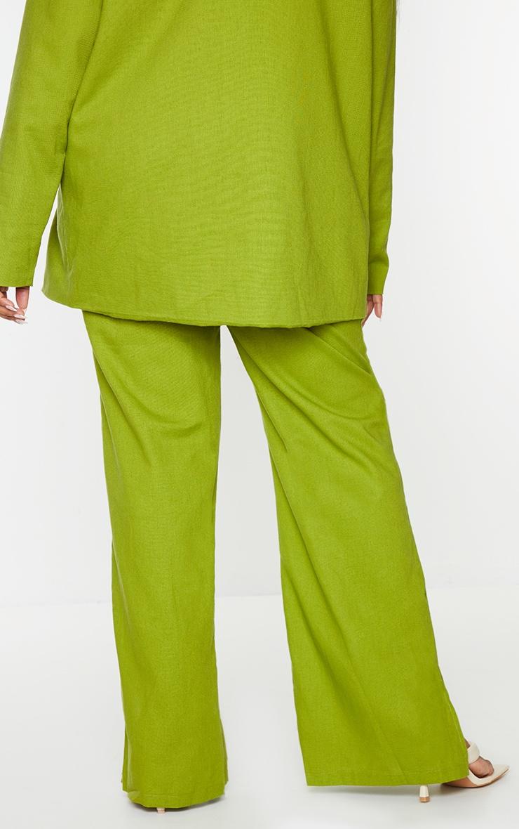 Plus Olive Linen Look Side Split Trousers 3