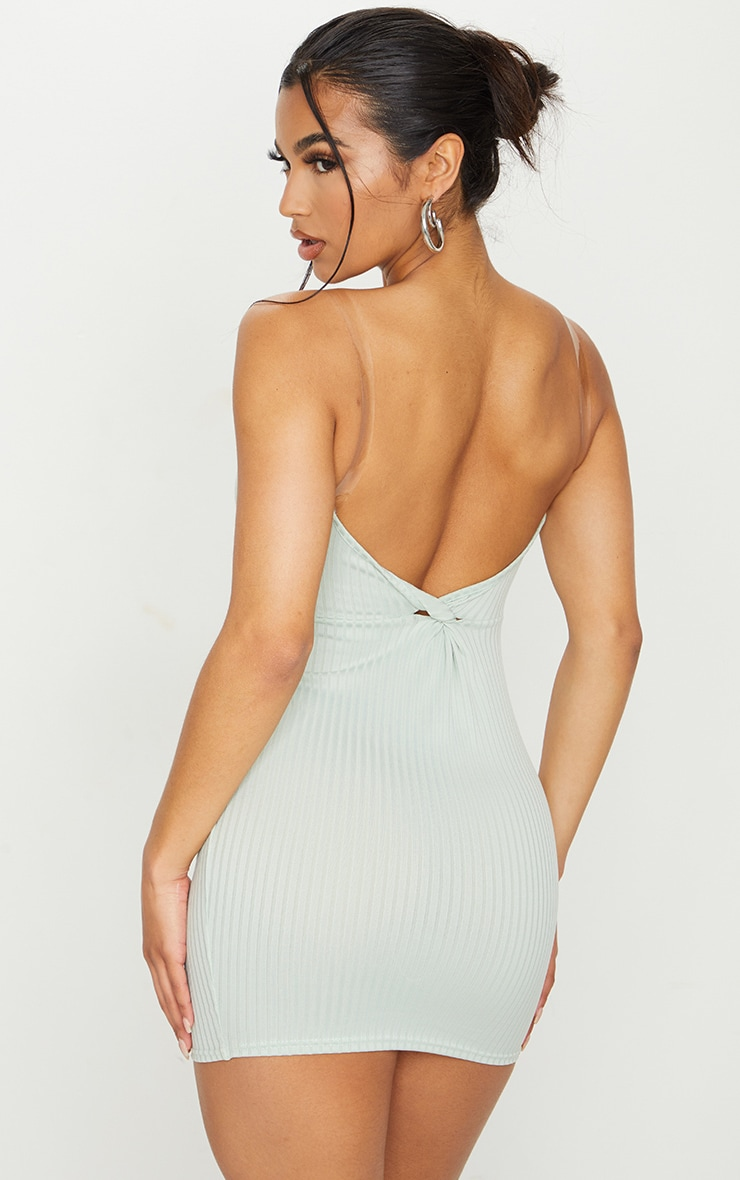 Sage Green Clear Strap Ribbed Scoop Back Bodycon Dress 2