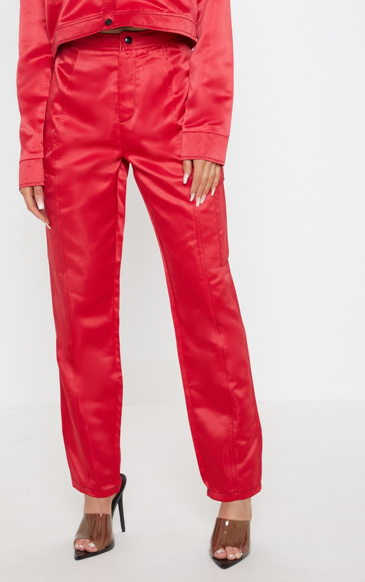 Red Contrast Stitch Pocket Detail Cargo Trouser 2