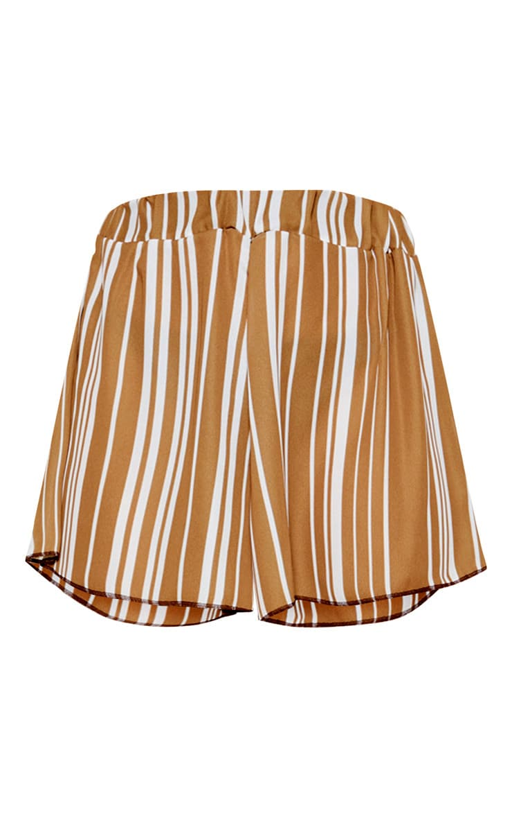 Taupe Base Stripe Lightweight Print Floaty Short  3