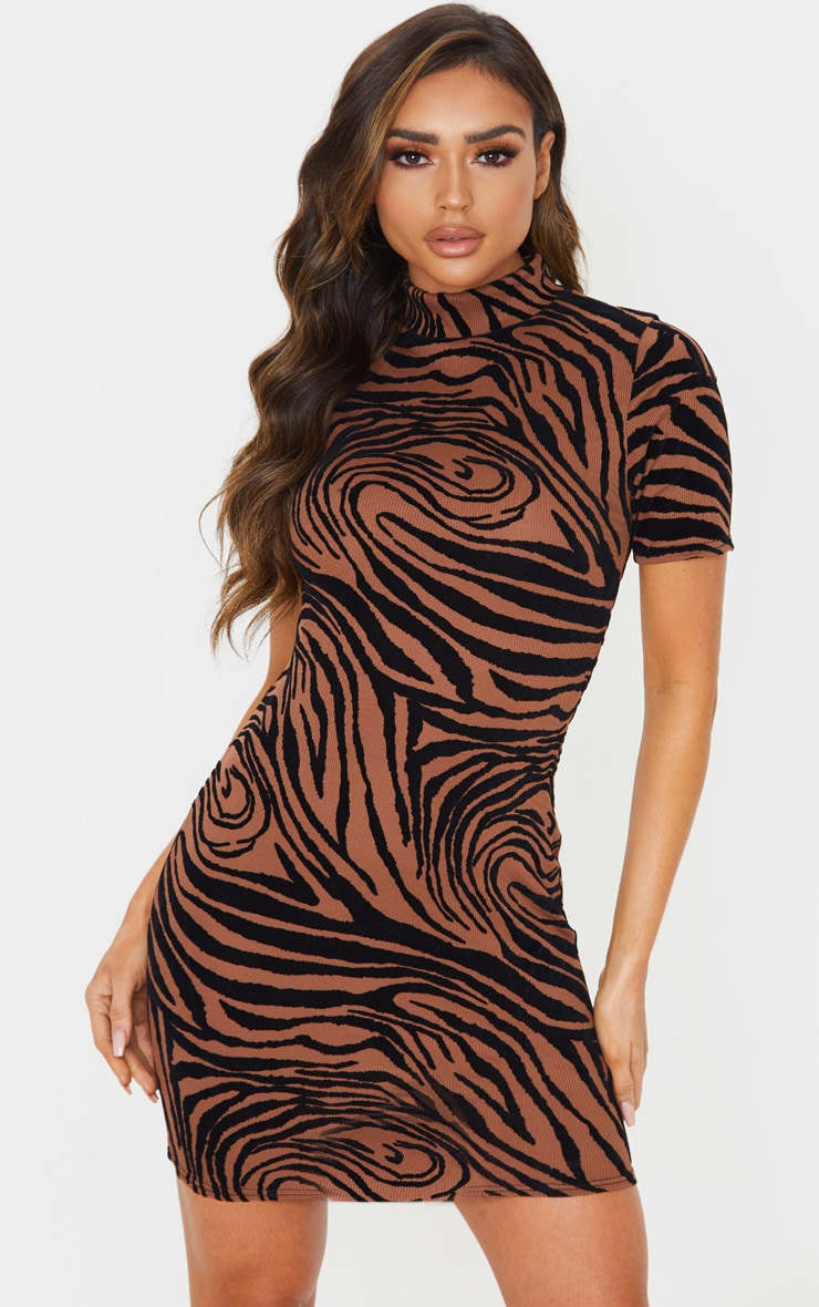 Brown Zebra Print Flocked High Neck Bodycon Dress by Prettylittlething