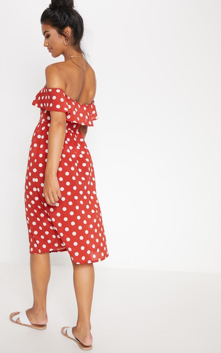 Burnt Orange Polka Dot Bardot Button Up Midi Dress 2