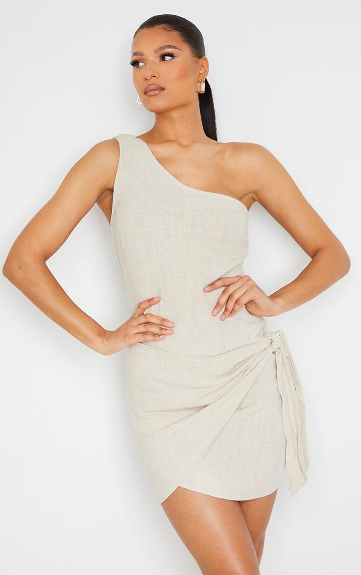 Stone Linen One Shoulder Knot Detail Wrap Skirt Bodycon Dress 1