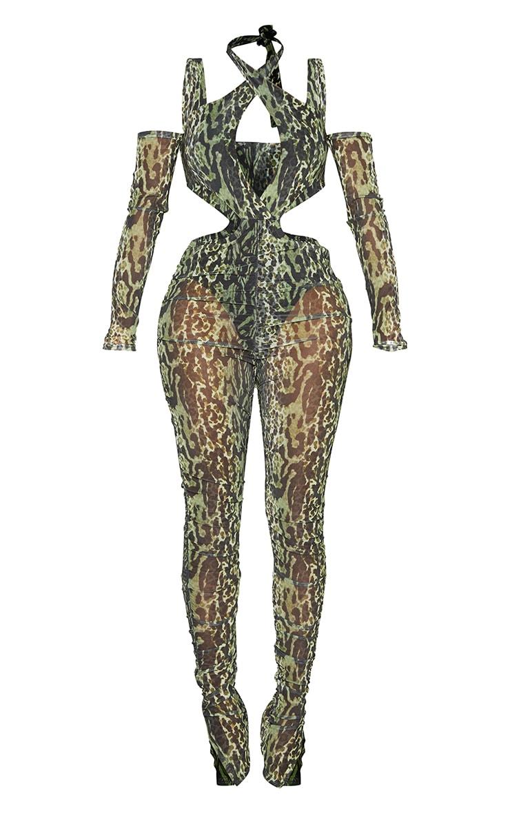 Shape Green Animal Print Mesh Halterneck Cut Out Jumpsuit 5