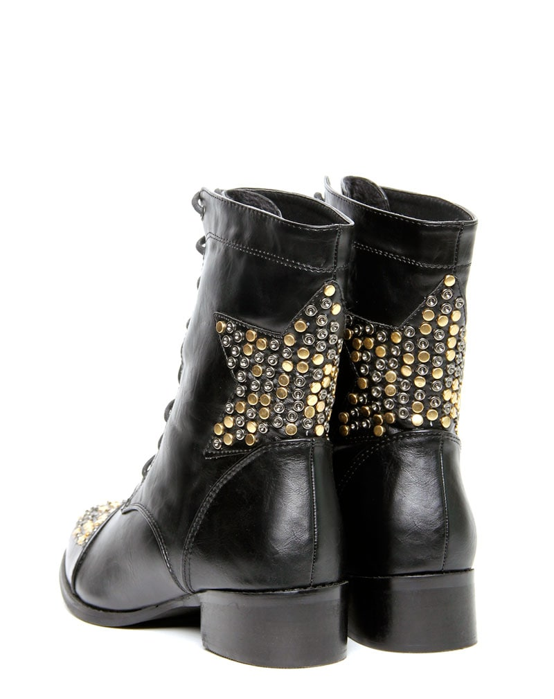 Roxanna Star Stud Black Lace Up Boots 3