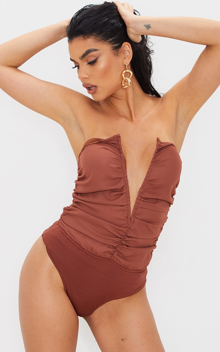 Chocolate Woven Ruched V Wire Bandeau Bodysuit 2