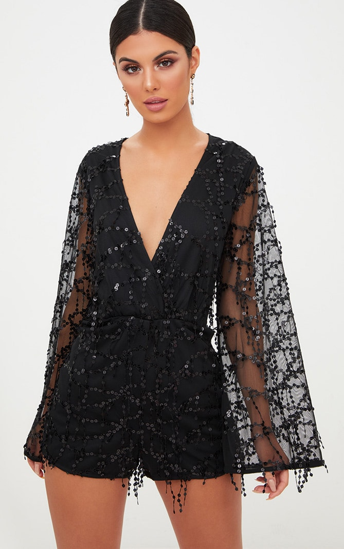 Black Sequin Wrap Front Playsuit 1