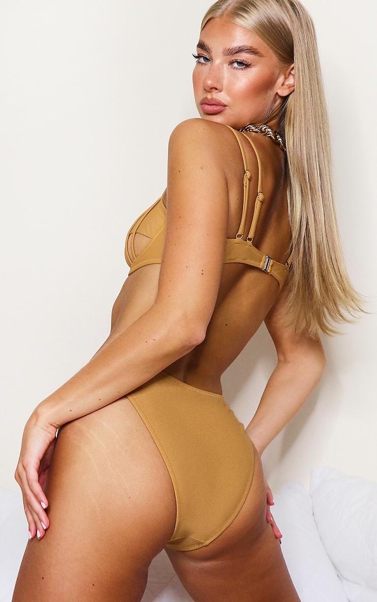 Mocha Underwired Mesh Cut Out Bikini Top 2