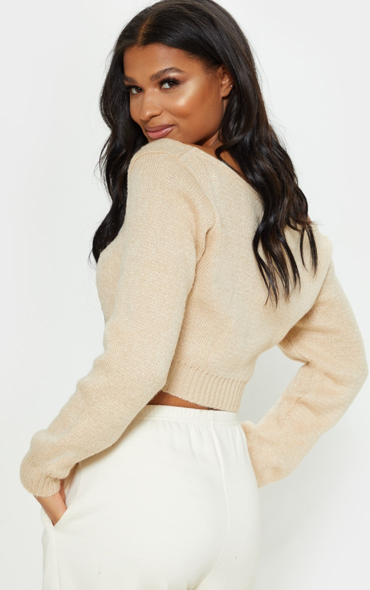 Stone V Neck Off Shoulder Soft Knitted Crop Jumper 2