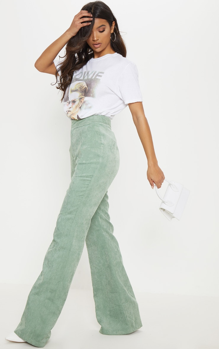 Sage Green Cord Flare Trouser