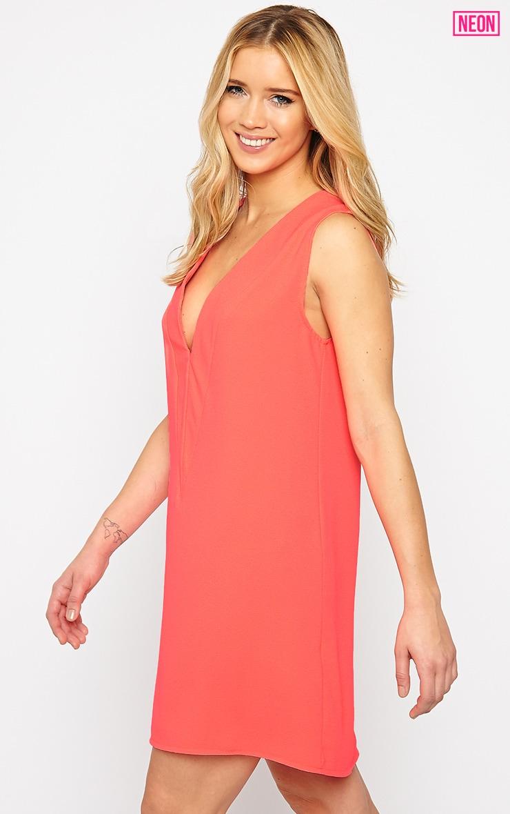 Haelyn Neon Pink Plunge V Shape Loose Fit Binding Dress 4