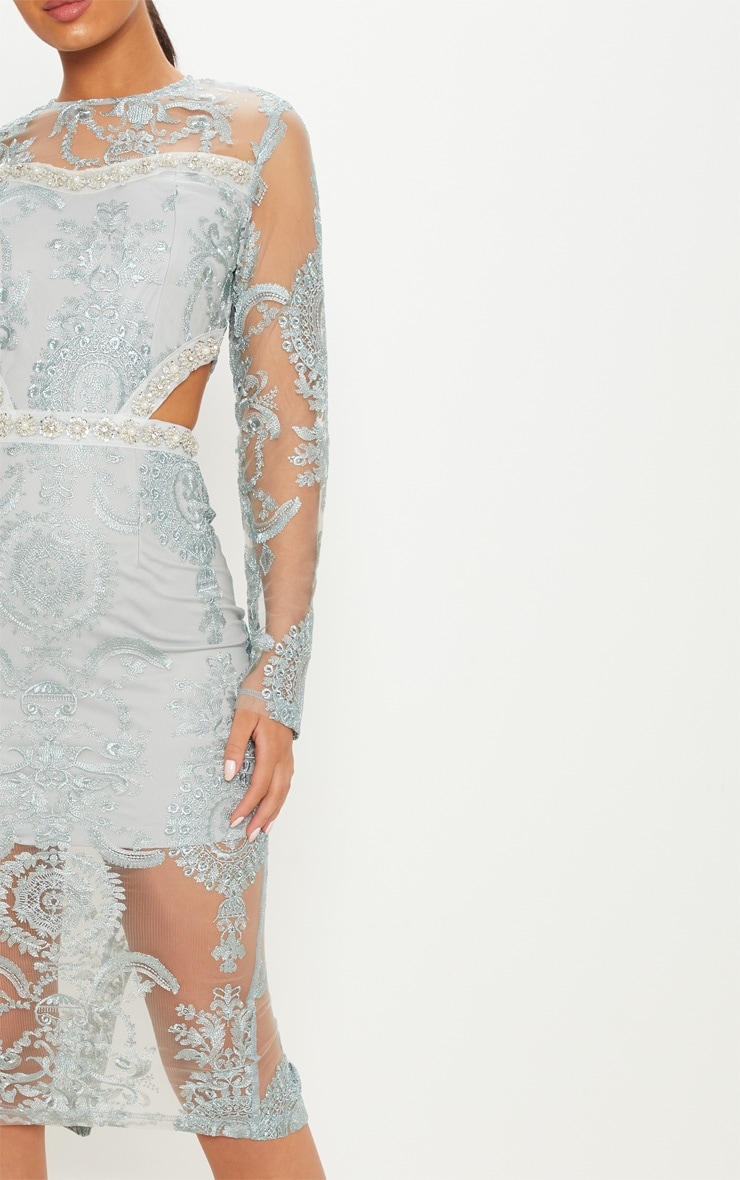 Grey Embroidered Lace Embellishment Detail Cut Out Midi Dress 5