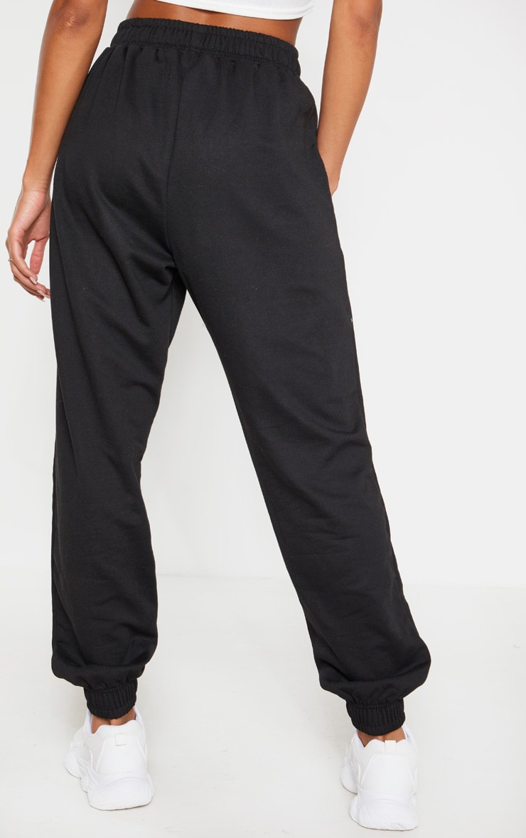 PRETTYLITTLETHING Black Slogan Side Joggers 4
