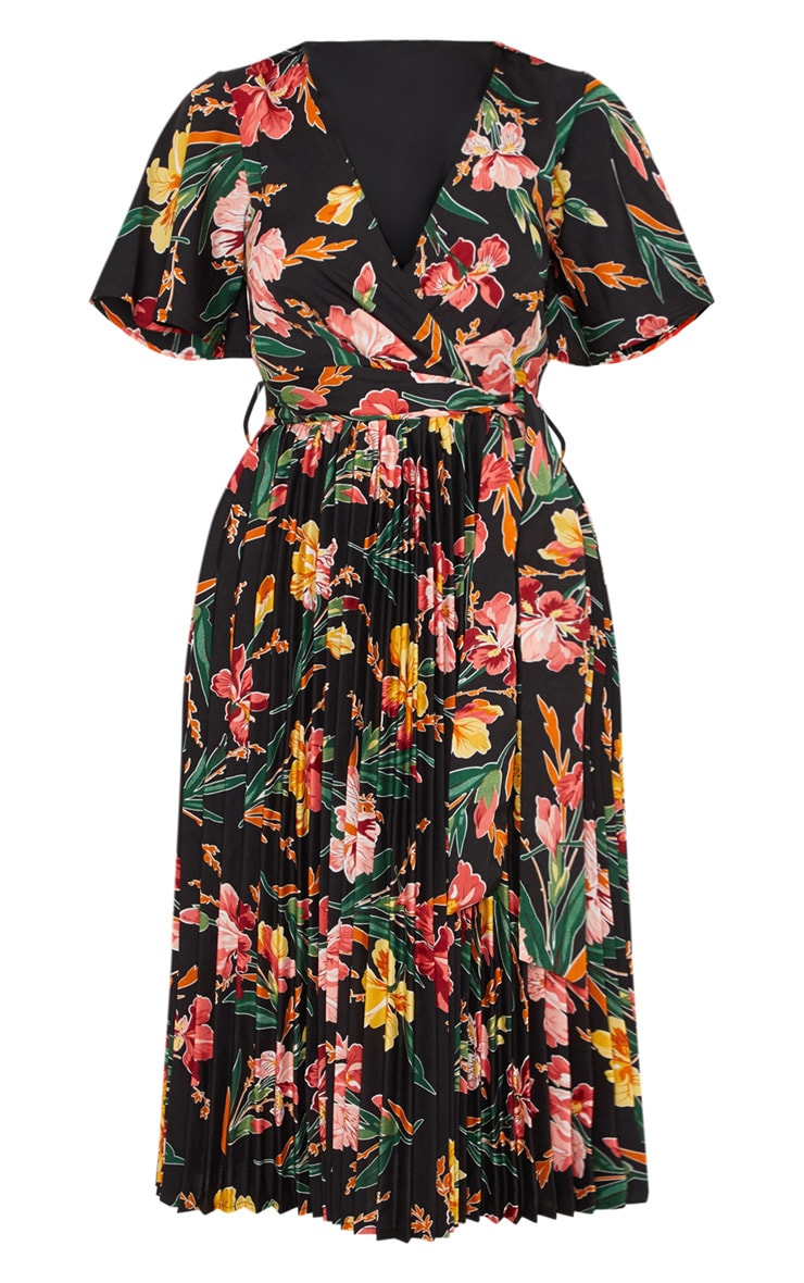 Black Floral Pleated Midi Dress 4