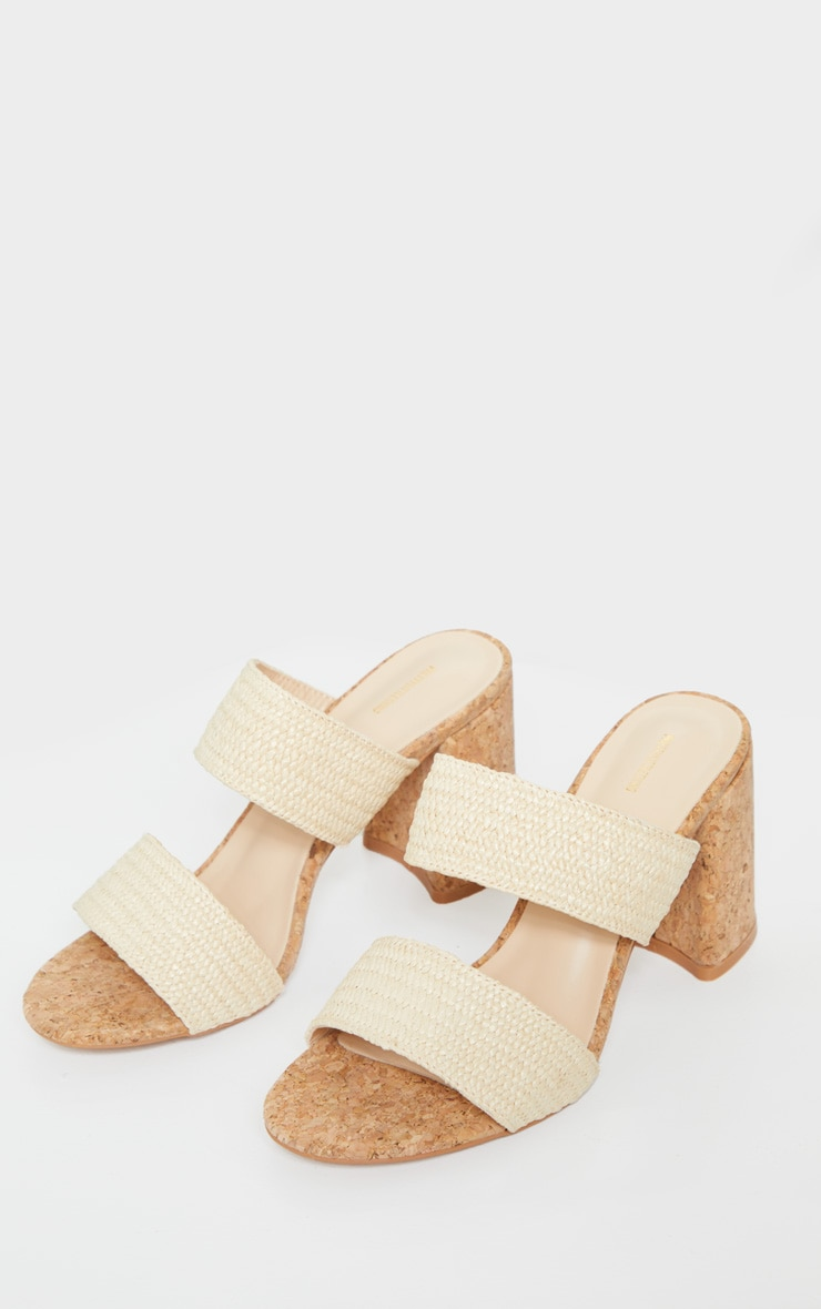 Natural Cork Twin Strap Block Heel Mule Sandal 3