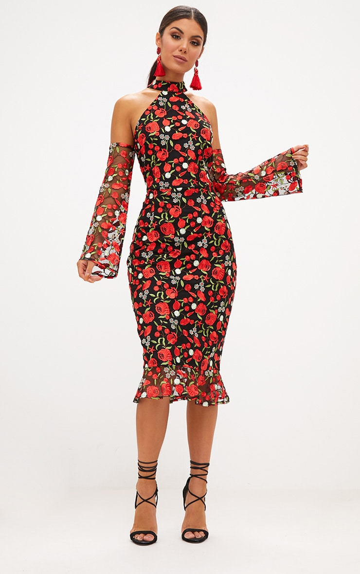 Red Embroidered Floral Cold Shoulder Midi Dress 1