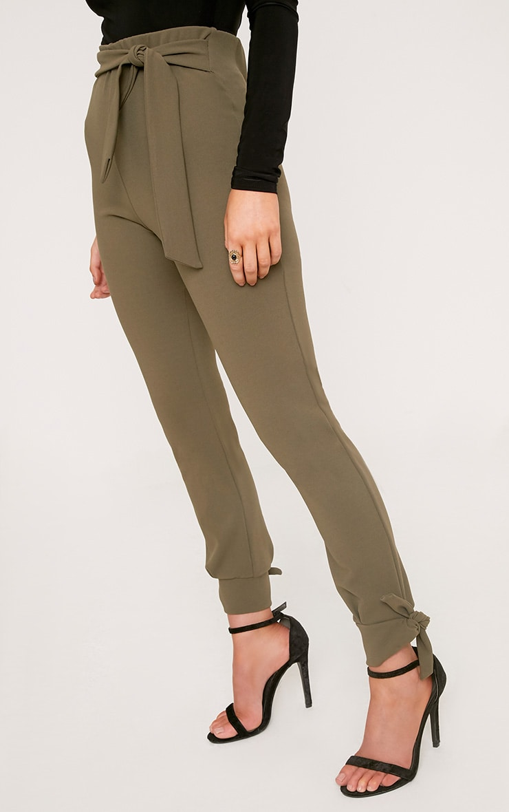 Detta Khaki Tie Detail Fitted Trousers  5