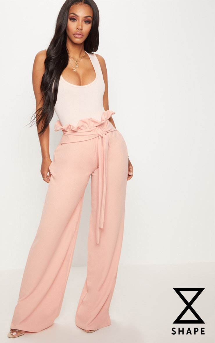 Shape Pink High Waist Paperbag Wide Leg Trousers