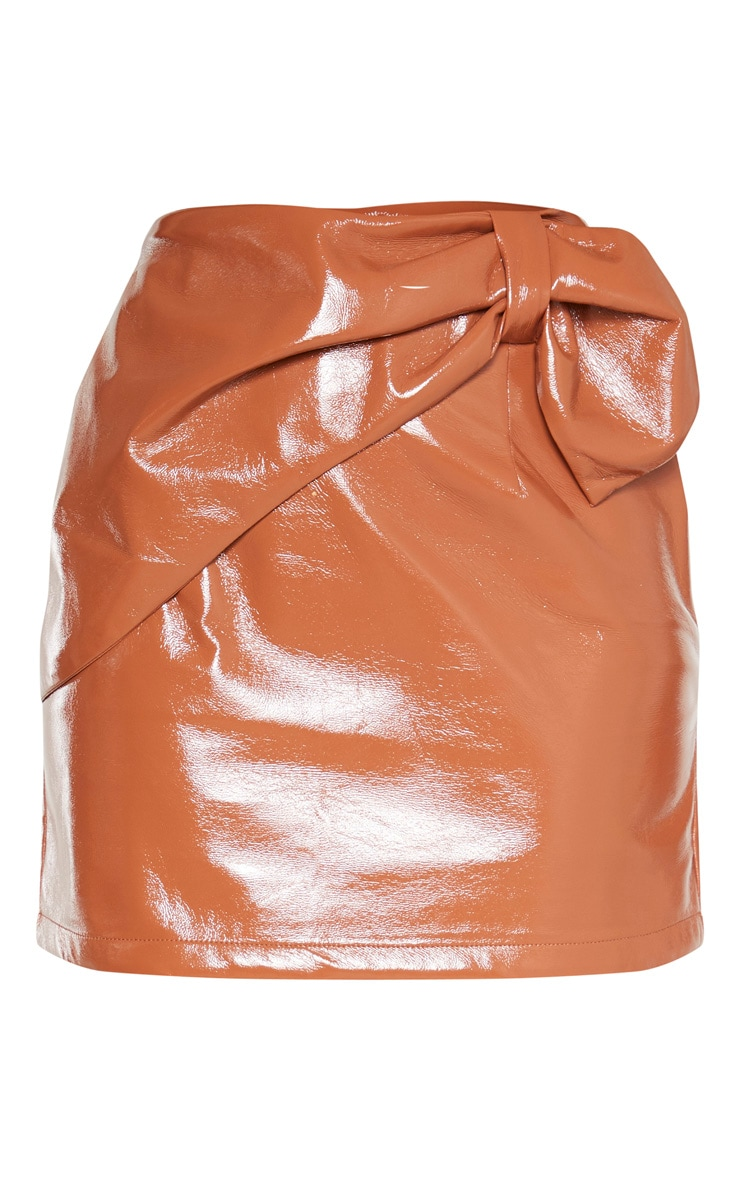Chestnut Cracked Faux Leather Bow Detail Mini Skirt 3