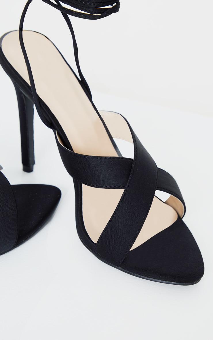 Black Cross Strap Ankle Lace Up Heeled Sandal 4