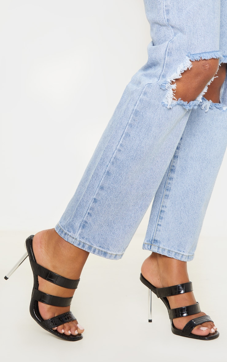 Black Triple Strap Metal Heel Mule Sandal 2