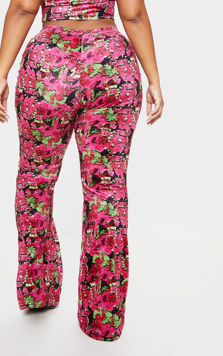 Plus Printed Velvet High Waisted Flare Pants 4