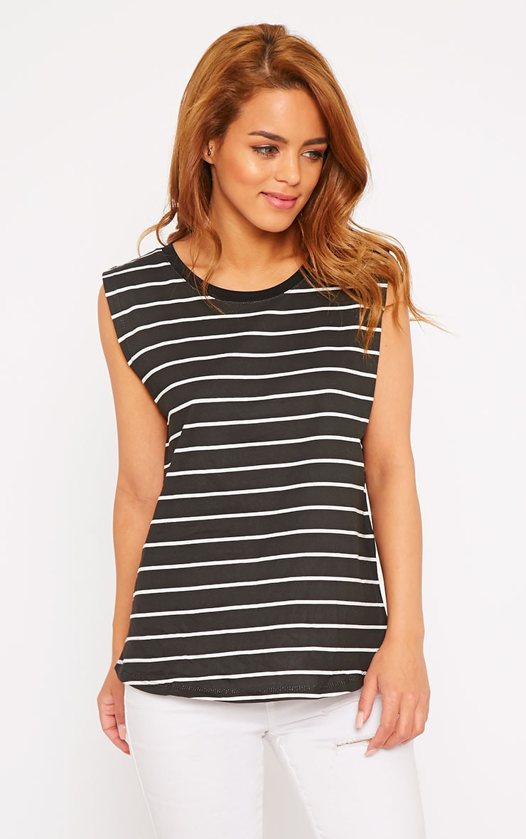 Lisbet Black Stripe Vest Top 1
